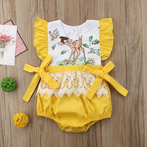 NEW Disney Bambi Baby Girls Yellow Ruffle Romper Bodysuit Jumpsuit Outfit