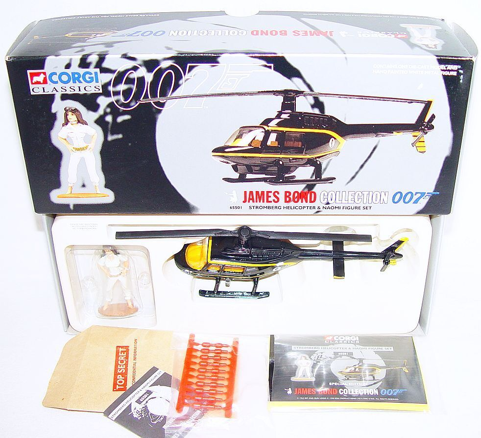 Corgi Toys JAMES BOND 007 STROMBERG HELICOPTER + NAOMI Movie Character MIB`98