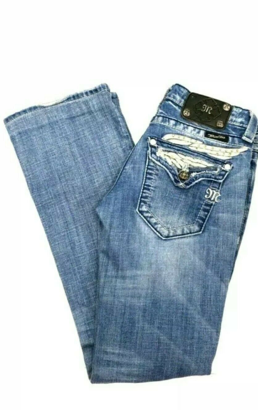 Miss Me  Leather Crystal Angel Wing Boot Jeans Size 26 JP5330B3 (W 28  x L 29 )