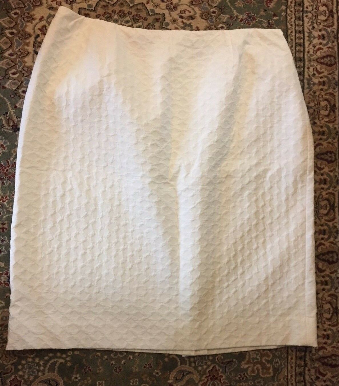 NEW DANA BUCHMAN Ivory Textured 100% Cotton Lined Skirt ELEGANT SIZE 16