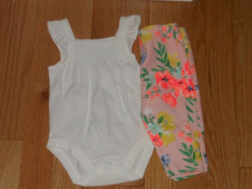 Carters white sleeveless top /& matching pink flowered leggings 3 mos NWT