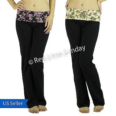 Floral Print Black Taupe Fold Over Waist Yoga Pants Leggings Gym Sweat Bottoms