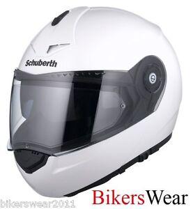 Schuberth-C3-PRO-Gloss-White-Flip-Front-Fibreglass-Motorcycle-Helmet-ZE