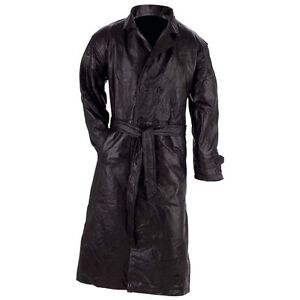 All Sizes Men Leather Black Long Trench Coat With Belt Choose Size Winter Wear