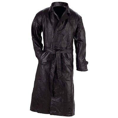 ALL SIZES MENS LEATHER BLACK LONG TRENCH COAT W/Belt Choose Size Winter Wear