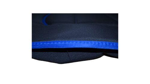 2x base de asiento cojines de asiento asiento esteras espalda almohada tela negro azul costura
