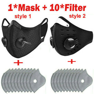 1 Mask 10 Filters Washable Face Mask Activated Carbon Filters Cycling Mouth Mask Ebay