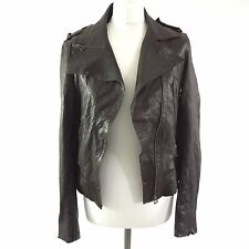 All Saints Vintage Brown Soft Leather Distressed Biker Zipped Jacket, Size UK 12