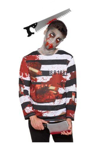 Mens ZOMBIE CONVICT COSTUME Halloween Kids Adult Prisoner Fancy Dress Outfit UK
