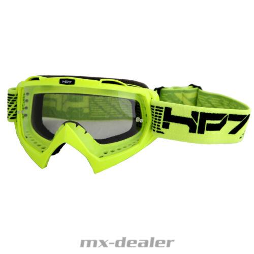 HP7 MX Brille Neongelb Klarglas Motocross Enduro HP 7 Crossbrille MTB BMX Quad