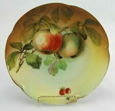 "Antique J & C Bavaria ""Louise"" Hand Painted Signed Porcelain Plate Apples 7.5"""