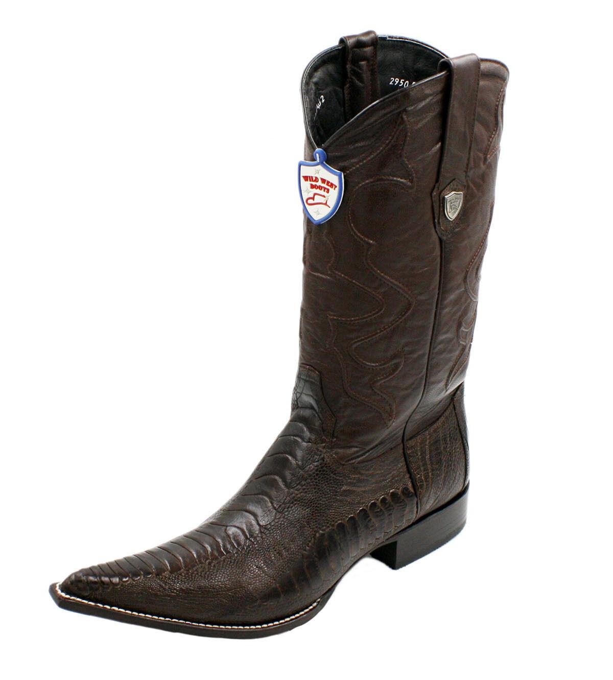 Men Genuine Ostrichleg Leather Cowboy Western Boots Snip Toe Style LA 2950507