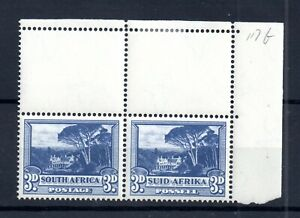 South-Africa-1940-3d-blue-SG117b-Stamps-MNH-Corner-Pair-WS17790