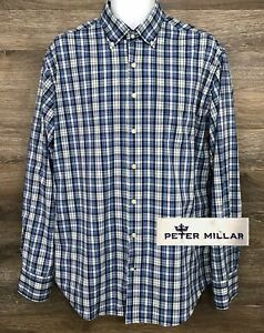 Peter-Millar-Men-039-s-Blue-Multi-Color-Nylon-Plaid-Long-Sleeve-Button-Down-Shirt-L