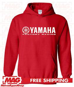 YAMAHA FACTORY RACING HOODIE SWEAT SHIRT BLACK RED YZF R1 R6 YFZ BANSHEE