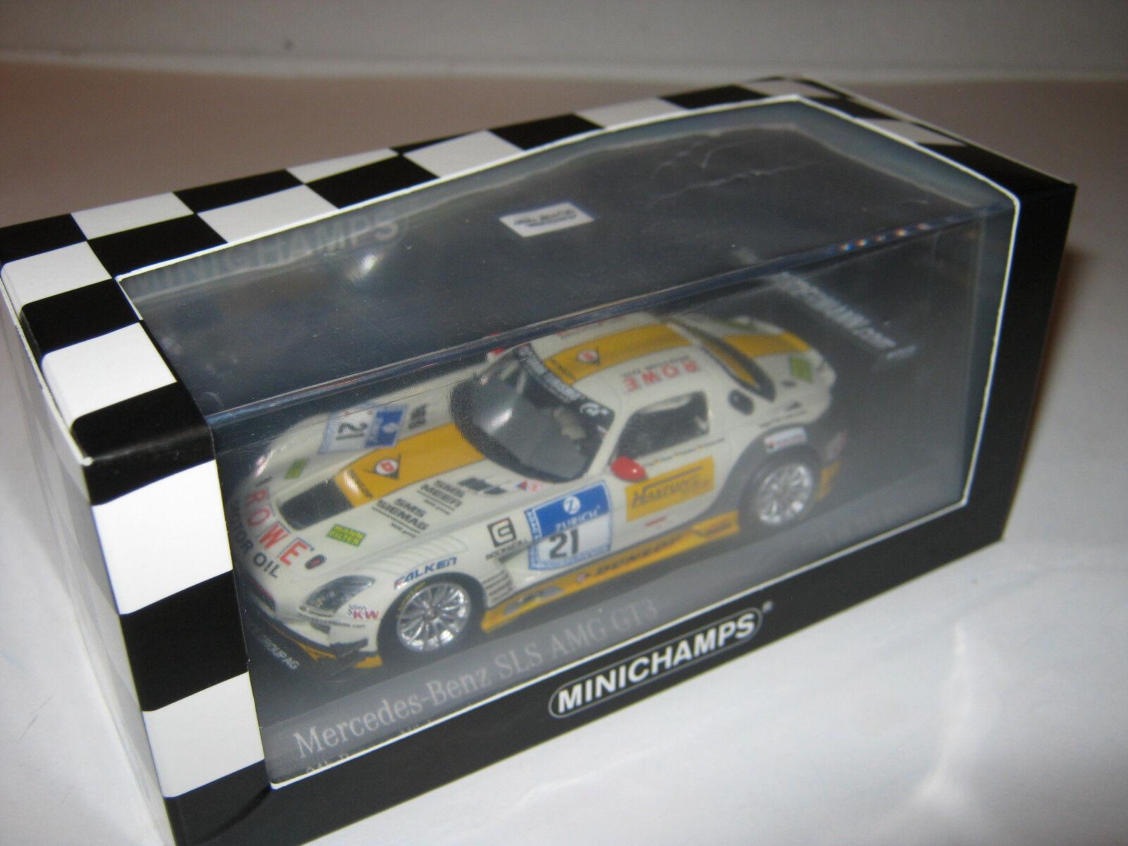 1 43 Mercedes SLS AMG gt3 Hartung Heyer Caoutchouc Nitrile butadiène. 2013 410133221 Minichamps NEW