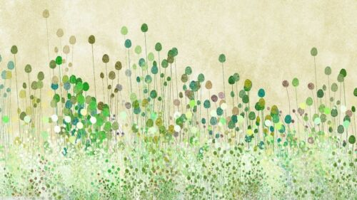 GREEN ABSTRACT OF POPPY BUDS  CANVAS PICTURE POSTER PRINT WALL ART