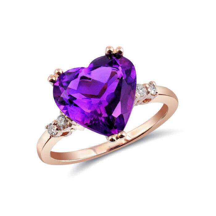 Natural Amethyst 3.83 carats set in 14K pink gold Ring with Diamonds