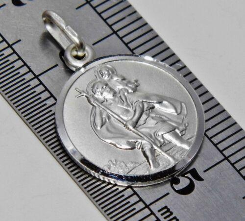 Sterling Silver St Christopher Pendant Medallion Solid 925 Sterling Silver