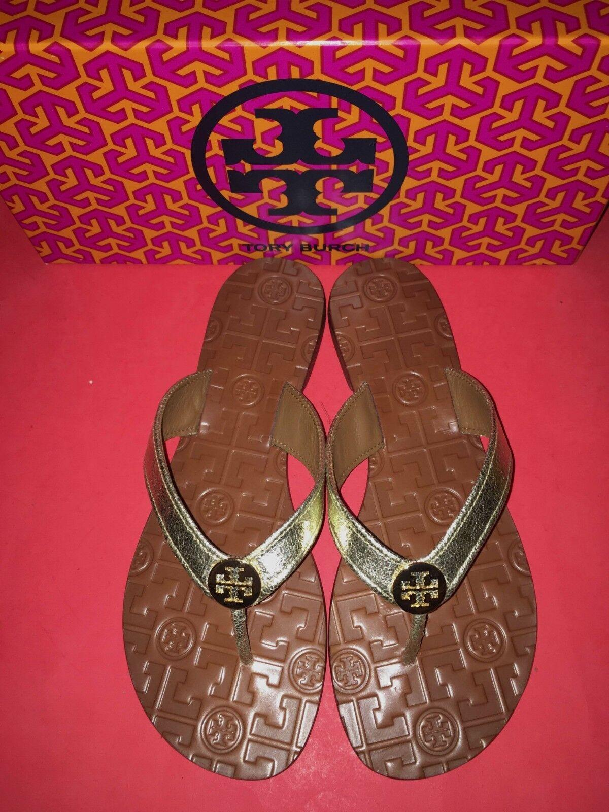NIB Tory Burch Thora Flip Flops 8 Logo Flat Thong Sandale 8 Flops Metallic Spark Gold 7b1ee8