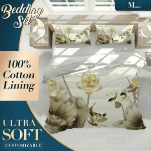 Lotus-Koi-Chinoiserie-Brown-Doona-Cover-Sets-with-Zipper-And-Pillowcase