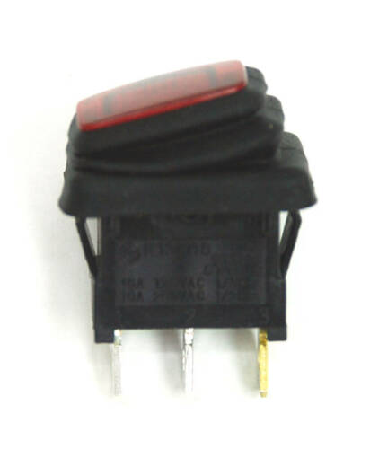 20pc Waterproof IP65 On-Off Rocker Switch 3P R13-66 16A 12VDC Lamp=Red LED 12VDC