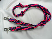 Hand Braided Paracord Pony/mini Horse Loop Reins Pink, Purple & Black Free Ship
