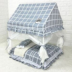 New-Handmade-Curtain-Cotton-Pet-Dog-Cat-Bed-House-Sofa-Frame-Bed-Blanket-S-M-L