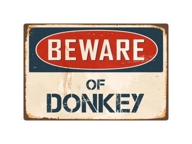 "Beware of Donkey 8"" x 12"" Vintage Aluminum Retro Metal Sign"