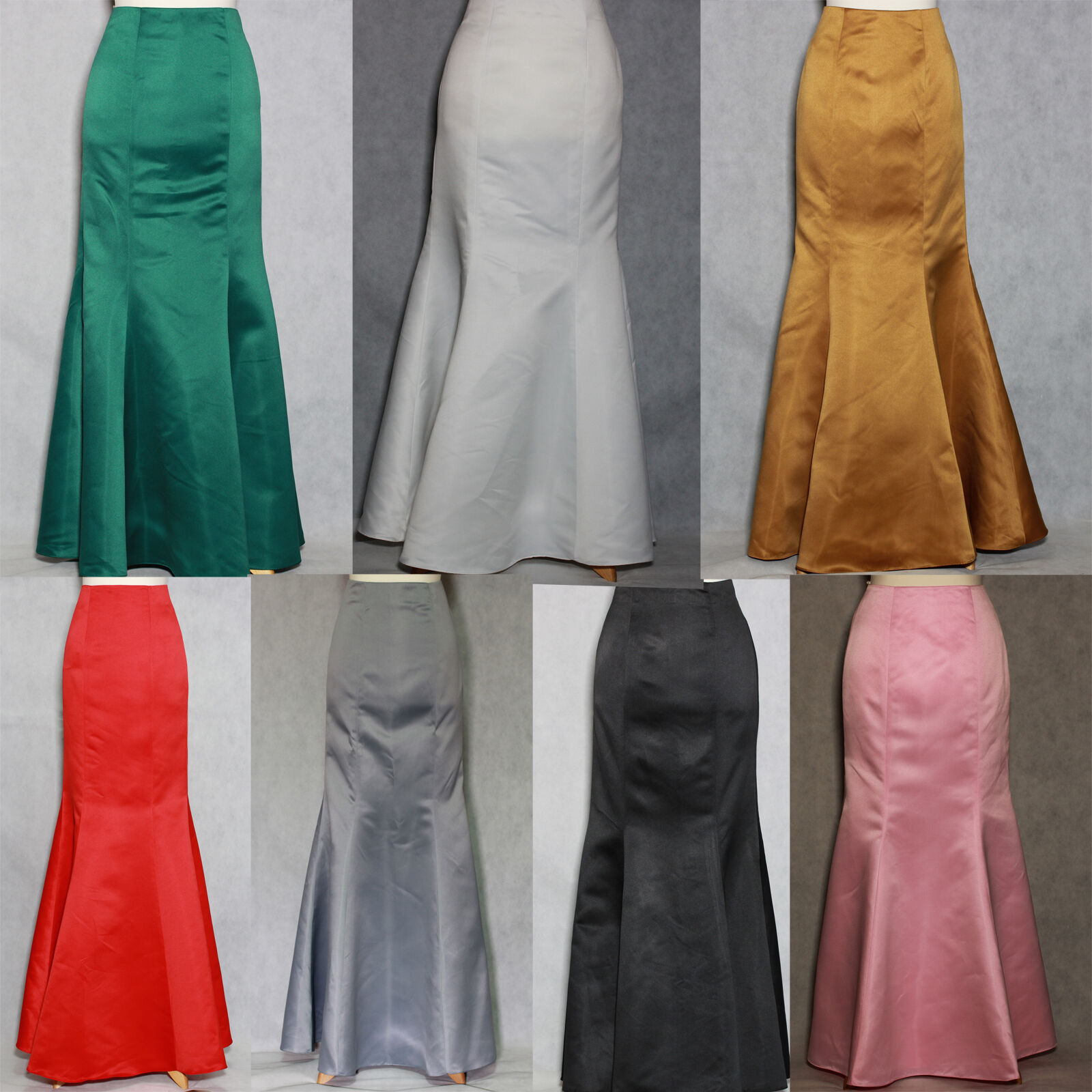 New Satin Fishtail Skirt Ball, Prom, Wedding, Evening. Size 4 to 30 #2(7 col)