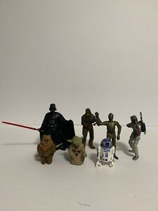 Lot of 7 Star Wars Figures - Vader, Chewy, C3P0, R2D2, Yoda, Ewok, Boba Fett