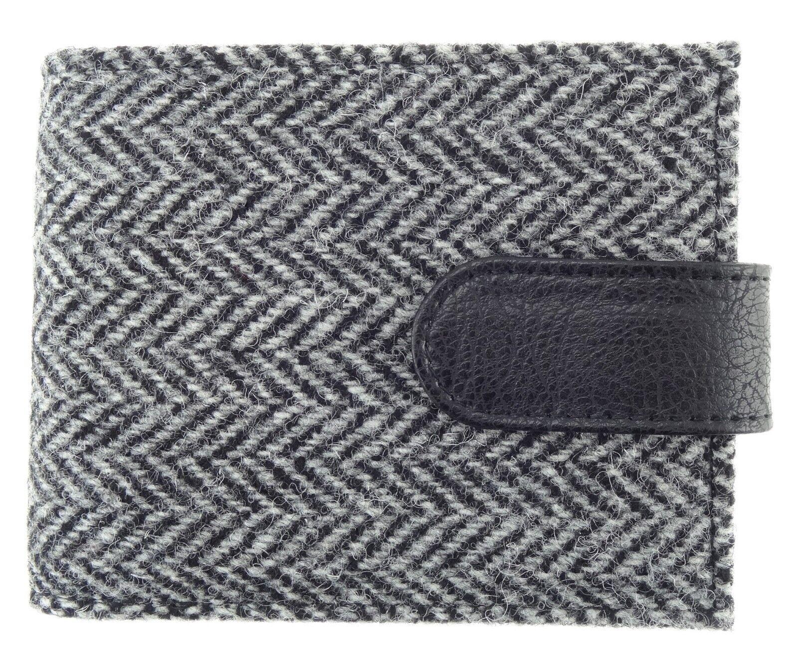 Authentic Harris Tweed Gents Coin Wallet Black/White Herringbone LB2105 - COL 4