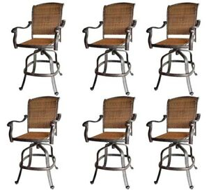 Patio-wicker-bar-stools-with-arms-set-of-6-Santa-Clara-cast-aluminum-Dark-Bronze