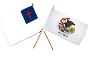 12x18 30.5cmx45.7cm En Gros Combo Christ Chrétien État Illinois Bâton Drapeau