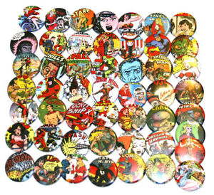 50-x-RETRO-COMICS-CARTOON-BADGES-Buttons-Pinbacks-Bulk-Wholesale-Lot-32mm
