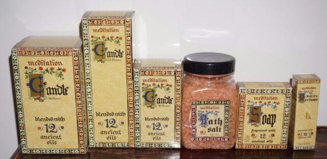 Meditation range perfume roll on massage 12 Essential Oils candles soap burner