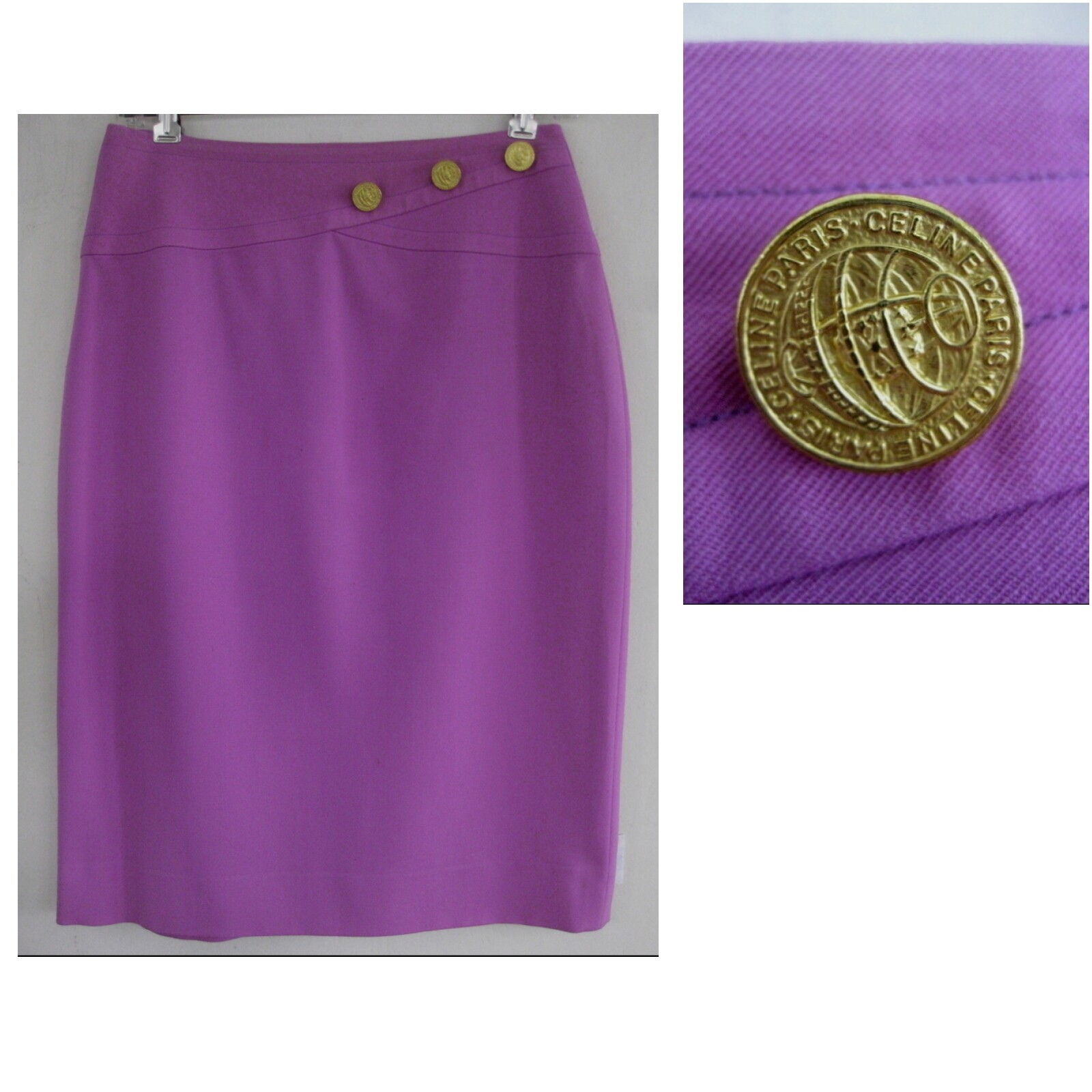 Celine Paris Pencil skirt M Wool Purple France gold buttons Yoke Straight Lined