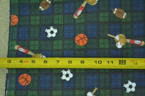 "By-the-Half-Yard 45/"" Wide M5494 Sports Theme on Plaid Stiffer Flannel"