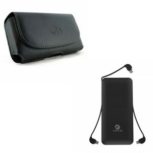 Leather-Case-Belt-Clip-Holster-w-Charger-10000mAh-Power-Bank-Z4K-for-Cell-Phones