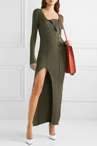 Jacquemus-NEW-All-Buttons-Front-Ribbed-Knit-Dress-38-Kaki-La-Robe-Maille-Azur
