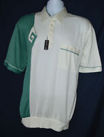 Vtg Gaucho Sea Green Ivory Rockabilly Diamond Shirt Alan Stuart Xl Waist Band