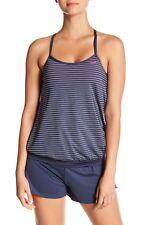 Nike Layered Open Back Tankini Top Striped 422 Thunder Blue Size Large L