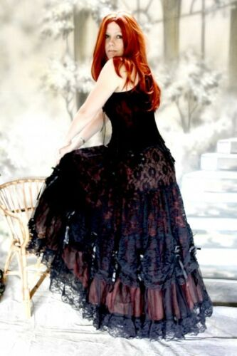 Gothic Wave  Victorian Tüll Rock  Elvira schwarz w rot bordeaux  36 38 40 42