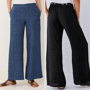 Mode-Femme-Pantalon-Jambe-Large-Taille-elastique-Simple-Confortable-Loose-Plus