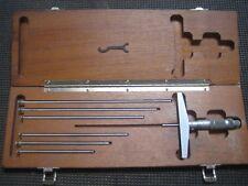 Brown Amp Sharpe Depth Micrometer Set 4 Base 0 7 Range 001 Grad With Wood Box