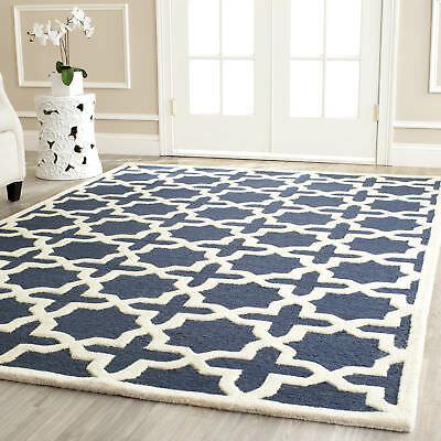 Safavieh Cambridge Navy Blue Ivory Wool Contemporary Area Rug Cam125g Ebay
