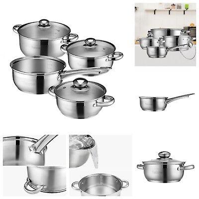 7pc Stainless Steel Pot & Pan Set Profonda Induzione Casseruola Pentola Con Coperchio In Vetro- Comodo E Facile Da Indossare