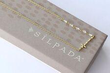 Silpada K & R Sideways Cross Hammered Brass Long Crystal Necklace NEW