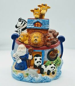 Vintage-BICO-Noah-039-s-Ark-Cookie-Jar-12-Tall-Cute-Animals-Colorful-E07