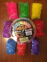 2-bucket Of Bands 8000 Pieces & 8 Bags/1000 Each Wonder Loom Bands Rainbow Color
